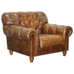 Large Vintage Aged Heritage Brown Leather Chesterfield Armchair Comfortable Halo