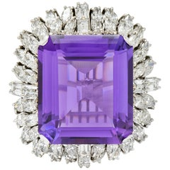 Large Vintage Amethyst 6.00 Carat Diamond 18 Karat White Gold Cluster Ring