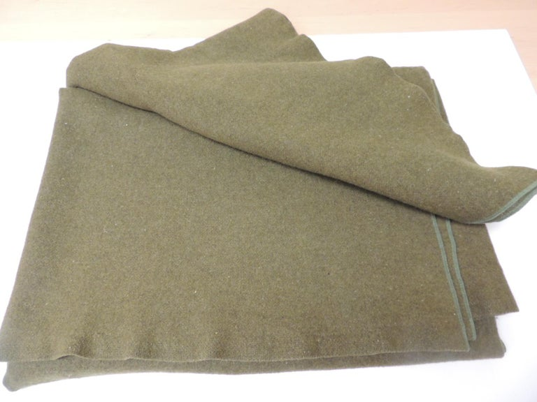 Bohemian Large Vintage Army Wool Camping Blanket For Sale