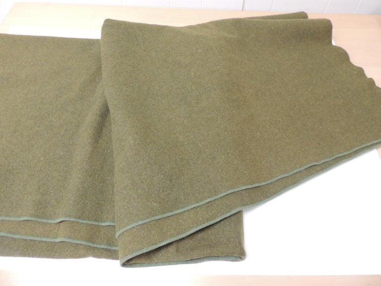 American Large Vintage Army Wool Camping Blanket For Sale