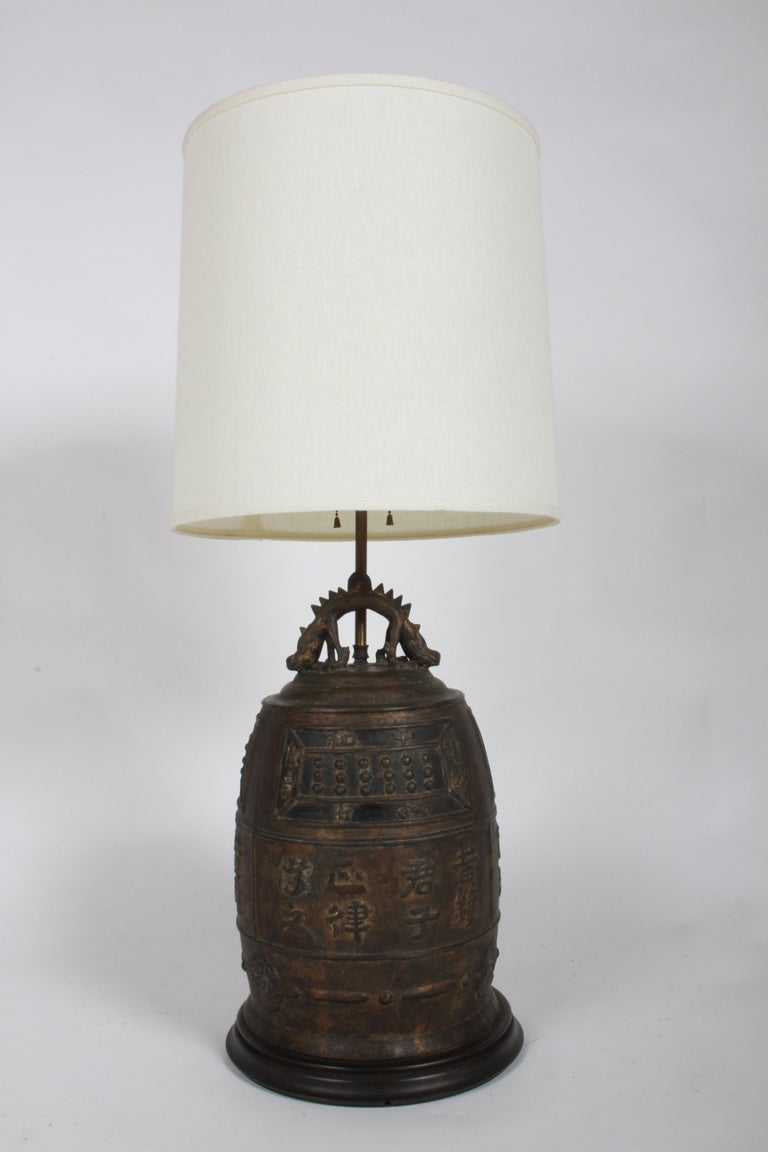 Mid-20th Century Large Vintage Asian lamp - Bronze Drum with Dragon & Symbols  For Sale