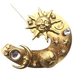 Large Vintage Askew of London Astrological Planet Sun Moon Brooch  Pin
