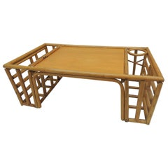 Large Vintage Bamboo and Rattan Bed Serving Tray