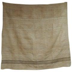 Large Vintage Beige and Tan  Stripe Yoruba Artisanal African Textile