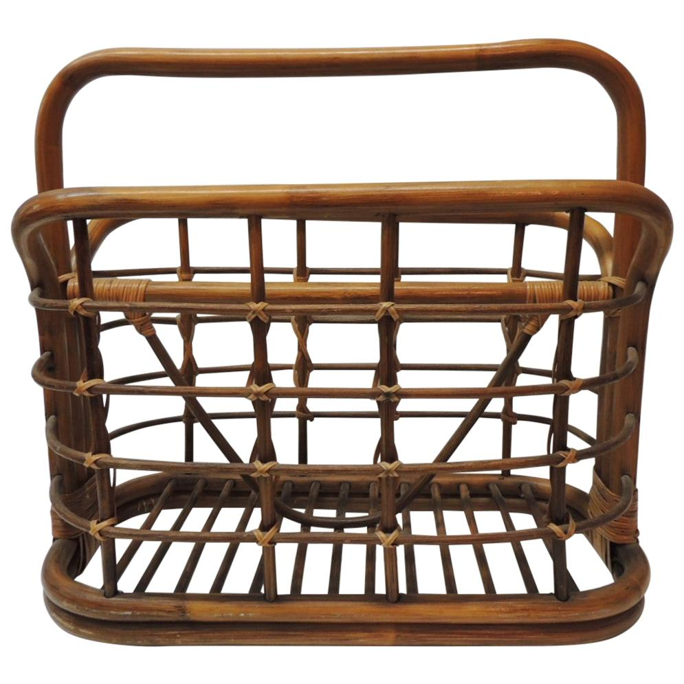Large Vintage Bent Bamboo Magazine Rack with Handle