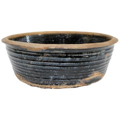 Large Vintage Black Glazed Terracotta Bowl