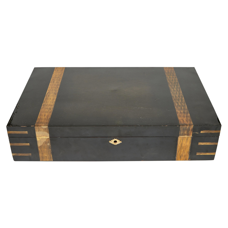 Large Vintage Black Lacquer Box