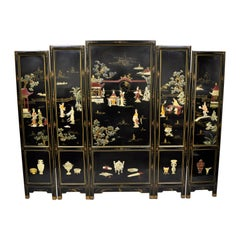 Large Vintage Black Lacquer Oriental Chinese Carved Soapstone 5-Panel Screen