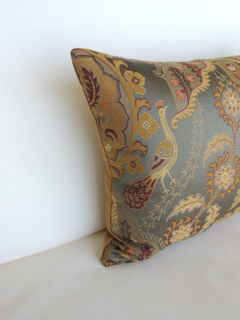 Large vintage blue and gold silk peacocks decorative bolster pillow.
