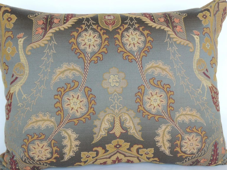 Baroque Large Vintage Blue and Gold Silk Peacocks Decorative Bolster Pillow