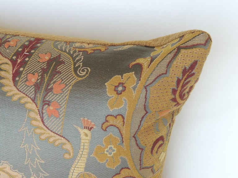 European Large Vintage Blue and Gold Silk Peacocks Decorative Bolster Pillow