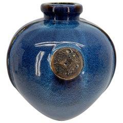 Large Vintage Blue Glazed Ceramic Vase