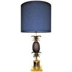Large Vintage Brass and Bronze Pineapple Lamp in the Style of Maison Charles