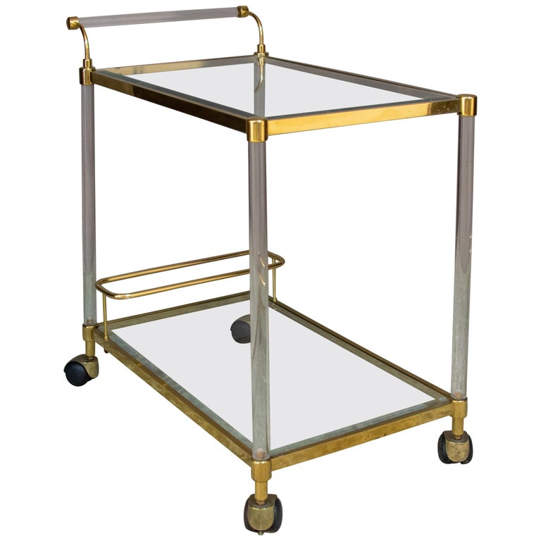 Large Vintage Brass and Plexiglas Two Tiers Italian Trolley, 1980 For Sale