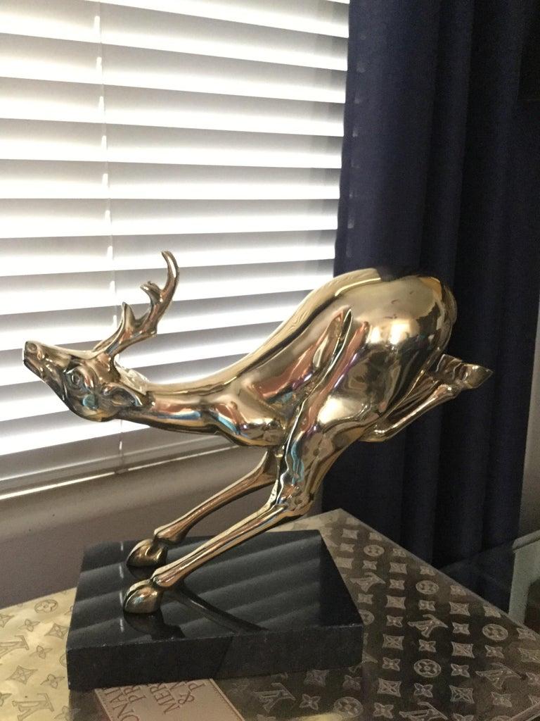 Hollywood Regency Large Vintage Brass Jumping Reindeer Animal Sculpture For Sale