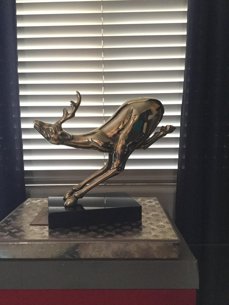 Hand-Crafted Large Vintage Brass Jumping Reindeer Animal Sculpture For Sale