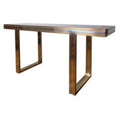 Large Vintage Brass & Nickel Console Table, Signed Romeo Rega