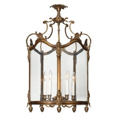 Large Vintage Bronze and Glass Lantern