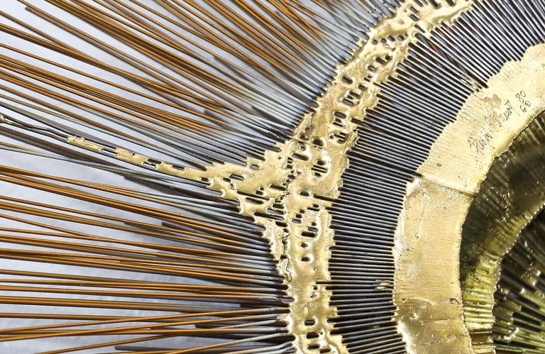 Metal Large Vintage Bronze Sunburst Wall Sculpture by Artist Frederick Prescott For Sale