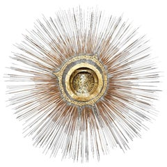 Large Vintage Bronze Sunburst Wall Sculpture by Artist Frederick Prescott