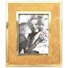 Large Vintage Brushed Brass Photoframe, Italy,  1970s