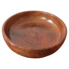 Large Vintage Californian Redwood Wooden Decorative Bowl
