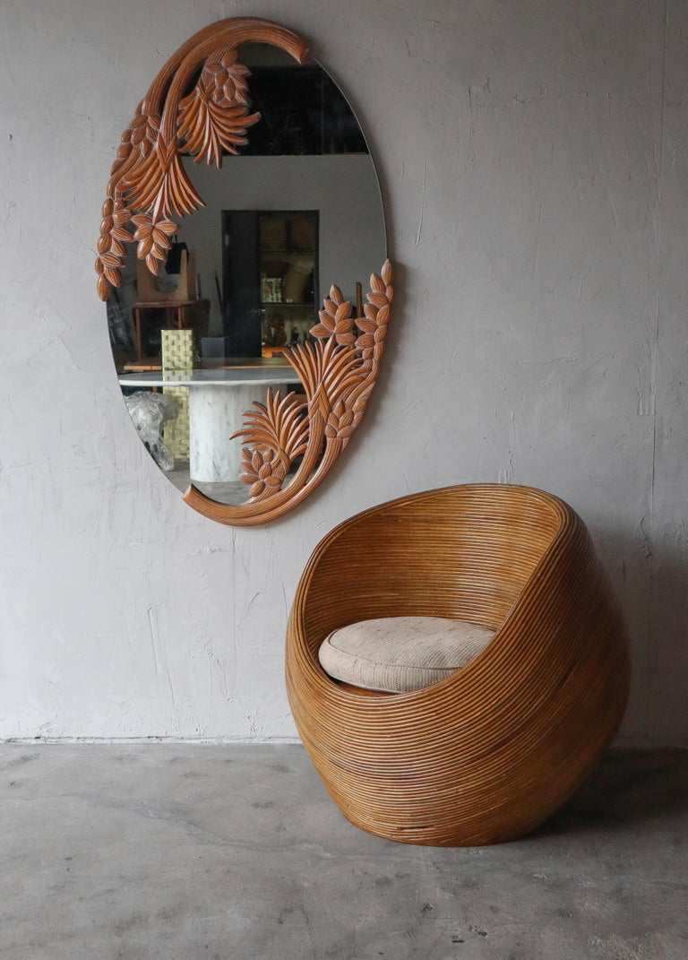 Bohemian Large Vintage Carved Wood Botanical Wall Mirror For Sale