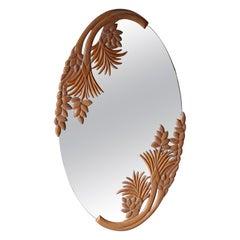 Large Vintage Carved Wood Botanical Wall Mirror