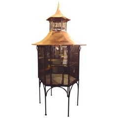 Large Vintage Cast Iron and Copper Bird Cage