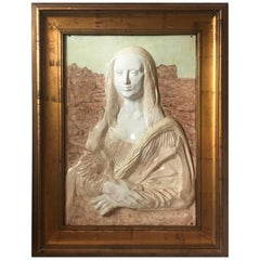 Large Vintage Ceramic High Relief Portrait Mona Lisa