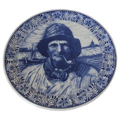 Large Vintage Ceramic Plate Blue and White Dutch Holland Delft Charger