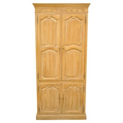 Large Vintage Cerused Oak French Country Provincial Style TV Cabinet Armoire