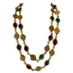 """Large Vintage Chanel Gilt Logo """"pate de verre"""" Statement Necklace"""