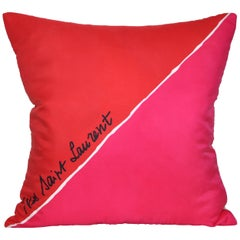 Large Vintage Christmas Red Pink YSL Fabric Cushion with Irish Linen Pillow