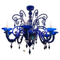 Large Vintage Cobalt Blue Hand Blown Murano Glass 8 Branch Chandelier