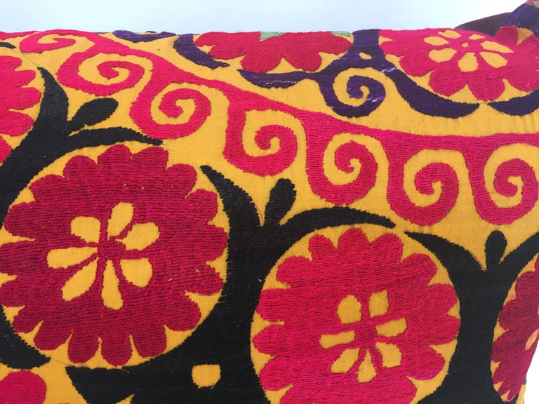 Large Vintage Colorful Suzani Embroidery Lumbar Pillow For Sale 3