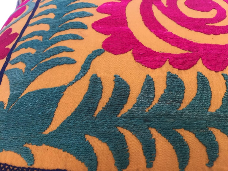 Large Vintage Colorful Suzani Embroidery Lumbar Pillow For Sale 4