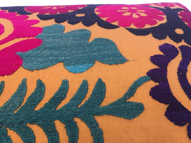 Large Vintage Colorful Suzani Embroidery Lumbar Pillow For Sale 5