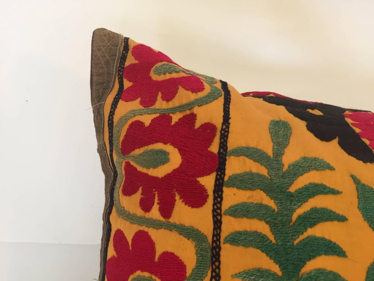 Large Vintage Colorful Suzani Embroidery Lumbar Pillow For Sale 6