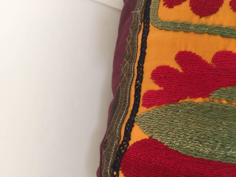 Large Vintage Colorful Suzani Embroidery Lumbar Pillow For Sale 8