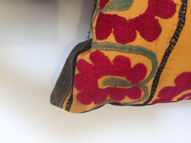 Large Vintage Colorful Suzani Embroidery Lumbar Pillow For Sale 9