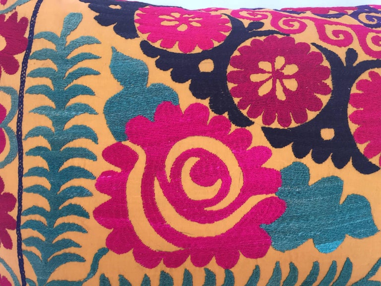 Uzbek Large Vintage Colorful Suzani Embroidery Lumbar Pillow For Sale