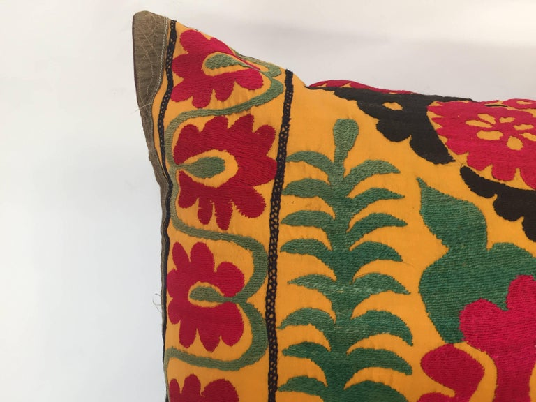 Hand-Crafted Large Vintage Colorful Suzani Embroidery Lumbar Pillow For Sale