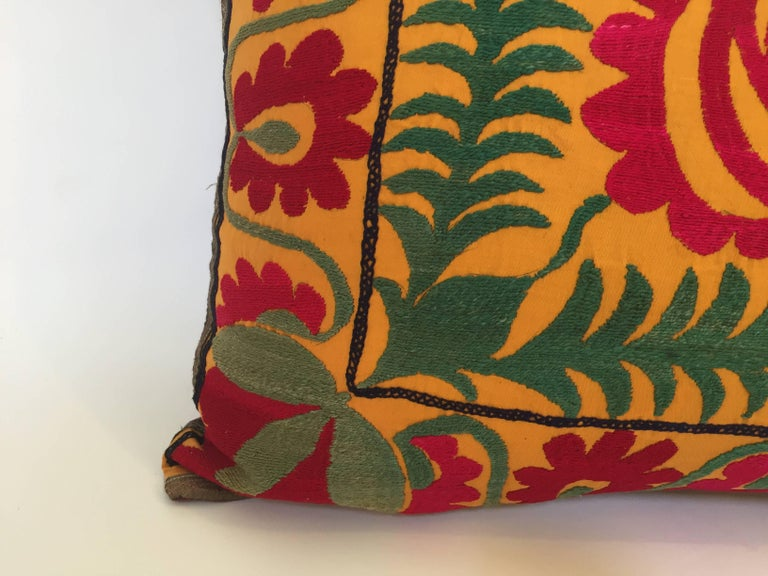 Large Vintage Colorful Suzani Embroidery Lumbar Pillow In Good Condition For Sale In North Hollywood, CA