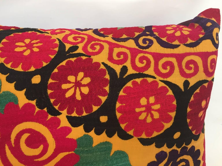 20th Century Large Vintage Colorful Suzani Embroidery Lumbar Pillow For Sale