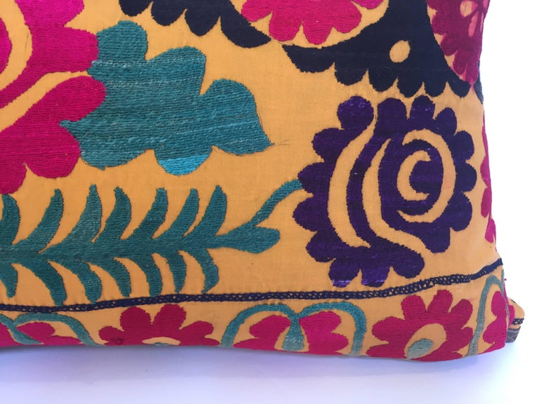 Cotton Large Vintage Colorful Suzani Embroidery Lumbar Pillow For Sale