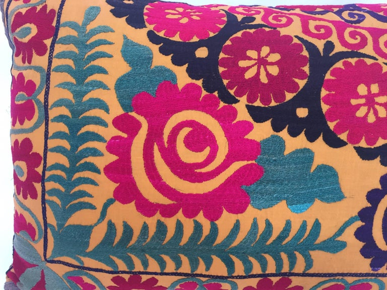 Large Vintage Colorful Suzani Embroidery Lumbar Pillow For Sale 1