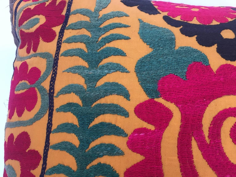 Large Vintage Colorful Suzani Embroidery Lumbar Pillow For Sale 2
