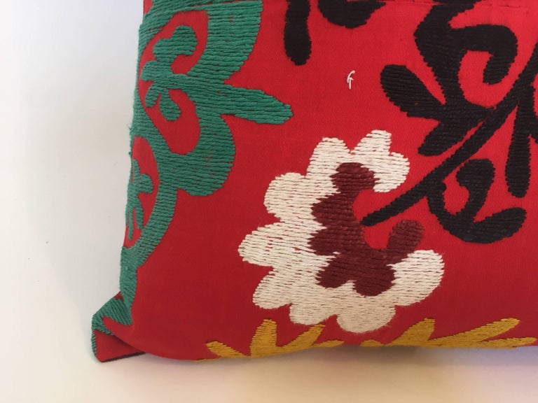 Hand-Crafted Large Vintage Colorful Suzani Embroidery Lumbar Pillow from Uzbekistan For Sale