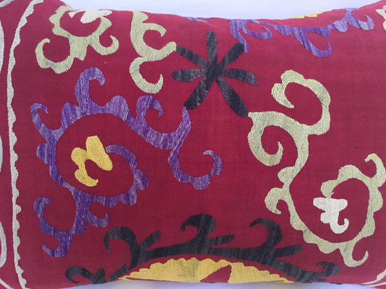 Large Vintage Colorful Suzani Embroidery Throw Pillow from Uzbekistan In Good Condition For Sale In North Hollywood, CA